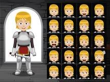 Il cavaliere medievale Girl Cartoon Emotion affronta l'illustrazione di vettore Immagine Stock Libera da Diritti
