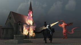 Il cavaliere montato confronta il drago respirante del fuoco Fotografie Stock Libere da Diritti