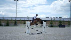 Il cavaliere salta sopra la barriera sul a cavallo stock footage