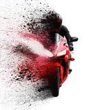 Il cavaliere sul casco rosso del motociclo di sport con una visiera nera Fotografia Stock Libera da Diritti