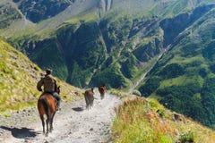 Il cavaliere va su un cavallo in montagne Fotografia Stock