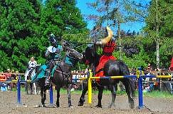 Il cavaliere verde devia il colpo del cavaliere rosso Immagine Stock Libera da Diritti