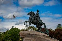 Il cavallerizzo Bronze Immagini Stock