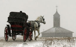 Il cavallo con il trasporto si muove lungo la strada dell'inverno su un fondo di vecchia costruzione Fotografia Stock Libera da Diritti