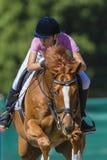 Il cavallo della ragazza salta il Equestrian del fuoco fotografie stock