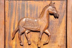 il cavallo fa da legno per bacground Fotografie Stock