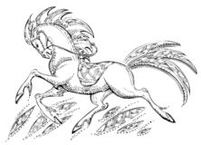Il cavallo rapido è libero su una radura illustrazione di stock