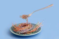 Il cavo di UTP ha avvolto una forcella d'acciaio come pasta o spaghetti sui precedenti blu Un piatto blu con i cavi come pasta immagini stock