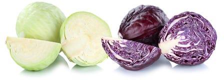 Il cavolo rosso e verde ha affettato la verdura della fetta isolata Immagini Stock