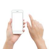 Il cellulare dello smartphone della tenuta della mano del primo piano e l'elemento della mano toccano la s Fotografia Stock