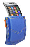 Il cellulare flessibile con l'icona astratta ha messo nella tasca Fotografia Stock Libera da Diritti