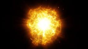 Il centro arancio di energia dell'oro con l'elemento del grafico delle scintille e delle onde illustrazione vettoriale