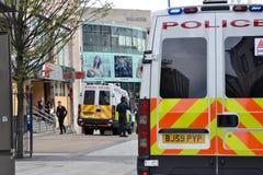 Il centro dell'Birmingham-Inghilterra si solleva 2011-Police Fotografia Stock Libera da Diritti