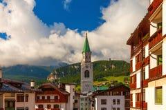 Il centro di Cortina Di Ampezzo, Italia Immagini Stock Libere da Diritti