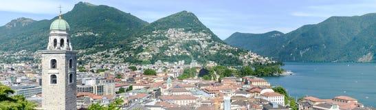Il centro di Lugano e del lago sulla Svizzera Fotografie Stock