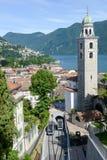 Il centro di Lugano e del lago sulla Svizzera Immagini Stock Libere da Diritti