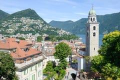 Il centro di Lugano e del lago sulla Svizzera Fotografia Stock
