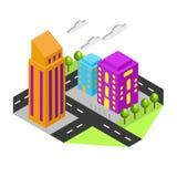 Il centro urbano è soleggiato illustrazione di stock