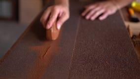 Il ceppo di legno della nave grinded dal carpentiere closeup video d archivio