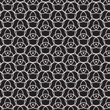 Il cerchio bianco lineare si sovrapponeva con il BAC bianco del nero del motivo a stelle illustrazione vettoriale