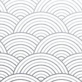 Il cerchio d'argento geometrico allinea il modello con struttura di scintillio delle onde rotonde astratte su fondo bianco Vettor Immagini Stock Libere da Diritti