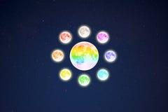 Il cerchio dell'arcobaleno ha colorato le lune piene sul fondo stellato del cielo Immagine Stock