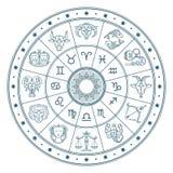 Il cerchio dell'oroscopo dell'astrologia con zodiaco firma il fondo di vettore illustrazione vettoriale