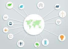 Il cerchio della mappa di mondo 3d si collega con le icone dell'energia pulita Immagini Stock