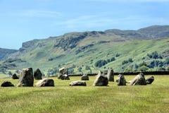 Il cerchio della pietra di Castlerigg ed abbatte Fotografie Stock Libere da Diritti