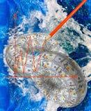 Il cerchio delle banconote sul fondo dell'acqua Fotografia Stock Libera da Diritti
