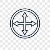 Il cerchio gradua l'icona secondo la misura lineare di vettore di concetto isolata su trasparente illustrazione vettoriale