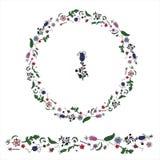 Il cerchio ha fatto dalla corona dudling floreale del whith degli elementi illustrazione di stock