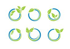 Il cerchio lascia il logo dell'ecologia, insieme della sfera dell'acqua della pianta di progettazione rotonda di vettore di simbo Fotografie Stock Libere da Diritti