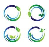 Il cerchio lascia il logo dell'ecologia, insieme della sfera dell'acqua della pianta di progettazione rotonda di vettore di simbo illustrazione vettoriale