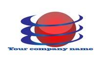 Il cerchio rosso con l'azzurro si sviluppa a spiraleare marchio Fotografia Stock