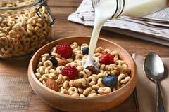 Il cereale da prima colazione con latte versa Fotografie Stock
