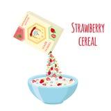 Il cereale suona la scatola, fragola con la ciotola Prima colazione della farina d'avena con latte Fotografia Stock