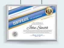 Il certificato blu bianco ufficiale con realistico grigio rasenta il fondo bianco della parete Pulisca la progettazione, effetto  illustrazione vettoriale