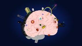 Il cervello con i simboli dei due emisferi #2 Fotografia Stock Libera da Diritti