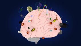 Il cervello con i simboli dei due emisferi #1 Fotografia Stock Libera da Diritti