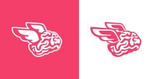 Il cervello con l'illustrazione di vettore delle mosche delle ali illustrazione vettoriale