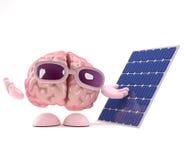 il cervello 3d usa l'energia solare Fotografia Stock