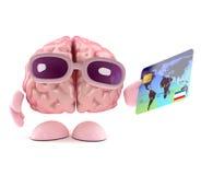 il cervello 3d usa una carta di debito Immagine Stock