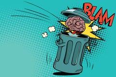 Il cervello umano è gettato nei rifiuti illustrazione vettoriale