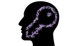 il cervello umano di AI di chiave dell'elettrone del circuito 4k, pensa l'ispirazione della soluzione di scienza illustrazione vettoriale