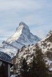 Il Cervino nel paesaggio della montagna di orario invernale di Zermatt Fotografie Stock