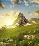 Il Cervino nel tramonto Fotografia Stock