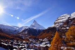 Il Cervino Svizzera di punta alpina Immagine Stock