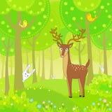 Il cervo di animazione nel legno gioca al nascondino con i conigli Fotografia Stock