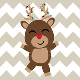 Il cervo sveglio è felice sul fumetto del fondo del gallone, sulla cartolina di natale, sulla carta da parati e sulla cartolina d immagine stock
